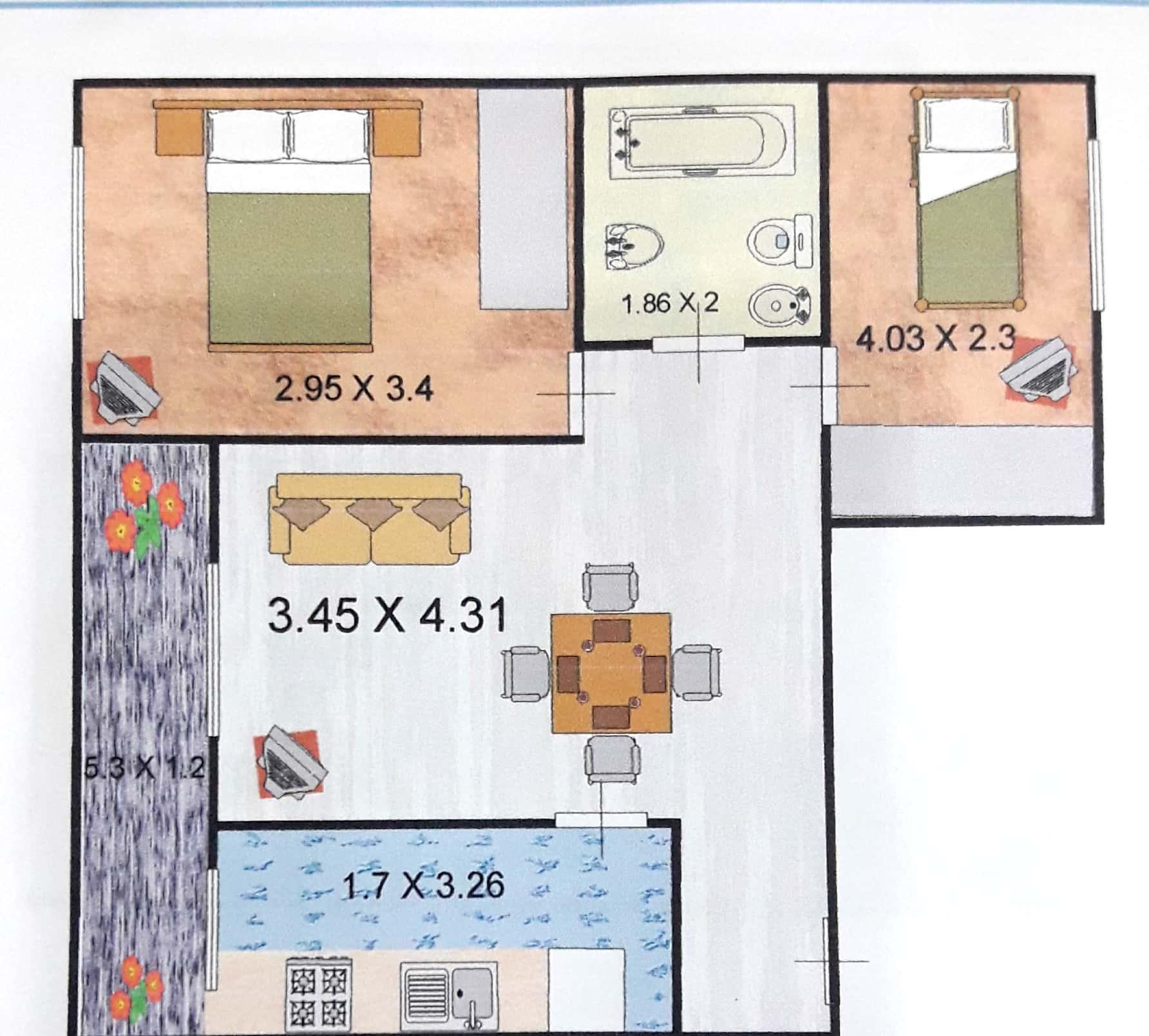3 Amb C/balcon 1 Piso Fte